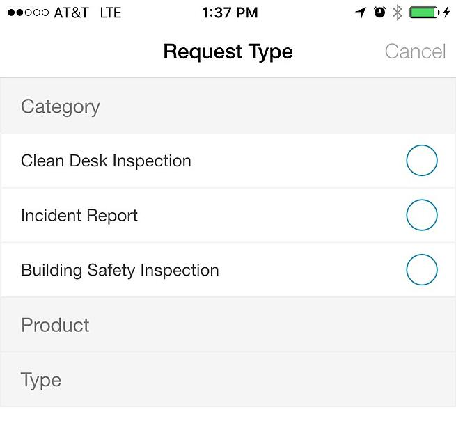 iOffice mobile request type screen shot